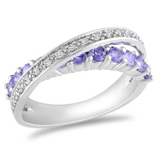 Miadora Sterling Silver Tanzanite and 1/10ct TDW Diamond Ring (H-I, I2-I3) with Bonus Earrings