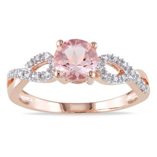 Miadora 10k Rose Gold Morganite and 1/10ct TDW Diamond Solitaire Infinity Ring (G-H, I1-I2)
