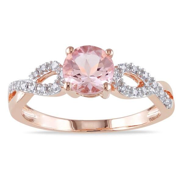 Miadora 10k Rose Gold Morganite and 1/10ct TDW Diamond Ring (G-H, I1-I2)