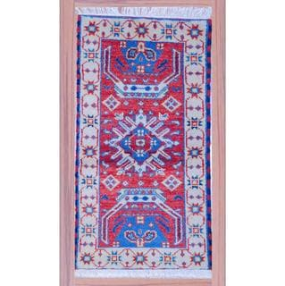 Indo Half-Inch Hand-Knotted Kazak Red/Ivory Wool Rug (2'2 x 4')