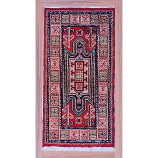 Indo Hand-knotted Kazak 2'2 x 4' Red/ Beige Wool Area Rug (India)