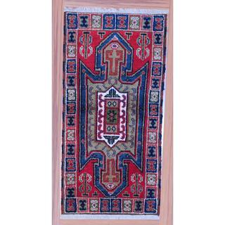 Indo Hand-knotted Kazak Red/ Navy Wool Rug (2'2 x 4')