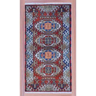 "Indo Hand-Knotted Kazak Rust/Ivory Traditional Wool Rug (2'2"" x 4')"