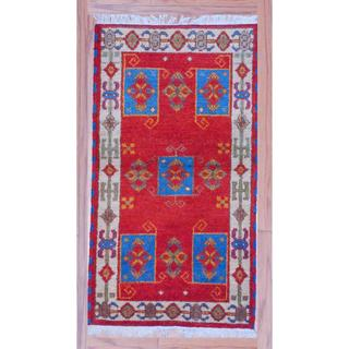 Indo Hand-Knotted Latex-Free Kazak Red/Ivory Wool Rug (2'2 x 4')