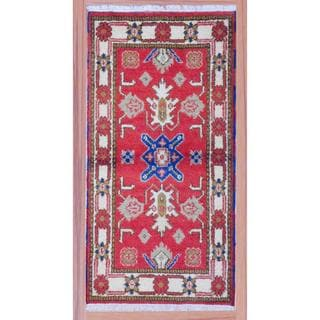 Herat Oriental Indo Hand-knotted Kazak Red/ Ivory Traditional Wool Rug (2'2 x 4')