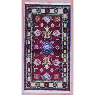 Geometric Indo Hand-Knotted Kazak Red/Ivory Wool Rug (2'2 x 4')