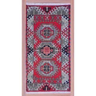 Herat Oriental Indo Hand-knotted Kazak Red/ Ivory Wool Rug (2'2 x 4')