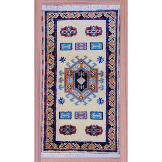 Indo Hand-knotted Kazak Light Yellow/ Light Brown Wool Rug (2'2 x 4')