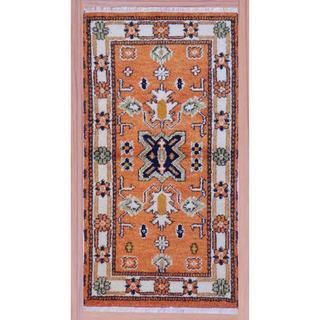 "Indo Hand-Knotted Kazak Peach/Ivory Wool Geometric Rug (2'2"" x 4')"