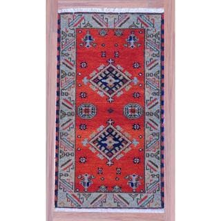 "Indo Hand-Knotted Kazak Orange/Ivory Geometric Wool Rug (2'2"" x 4')"