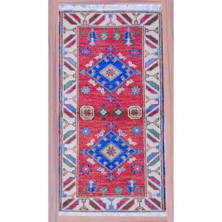 Indo Kazak Traditional Hand-Knotted Red/Ivory Wool Rug (2'2 x 4')