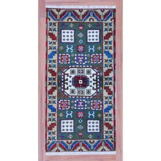 Indo Hand-knotted Kazak Green/ Ivory Wool Rug (2'2 x 4')