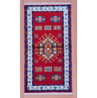 Hand-Knotted Traditional Indo Kazak Red/Ivory Wool Rug (2'2 x 4')