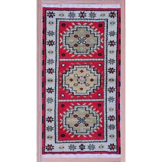 Multicolor Traditional Hand-Knotted Indo Kazak Red/Ivory Wool Rug (2'2 x 4')