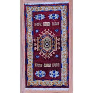 Indo Hand-knotted Kazak Red/ Brown Wool Rug (2'2 x 4')