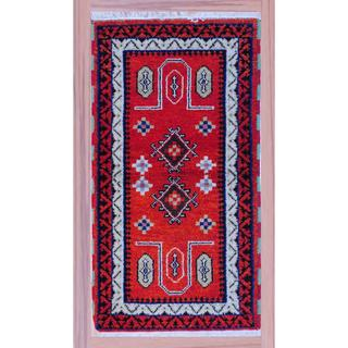 Indo Hand-knotted Kazak 2'2 x 4' Ivory/ Red Wool Area Rug (India)