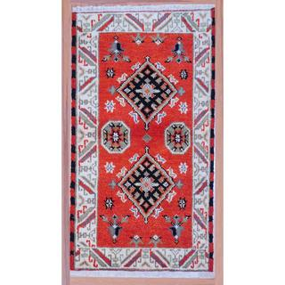 Herat Oriental Indo Hand-knotted Traditional Kazak Red/ Ivory Wool Rug (2'2 x 4')