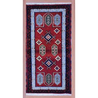 Indo Hand-knotted Kazak Rust/ Light Blue Wool Rug (2'2 x 4')