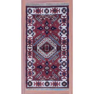 Herat Oriental Indo Hand-knotted Kazak Ivory/ Brown Wool Rug (2'2 x 4')
