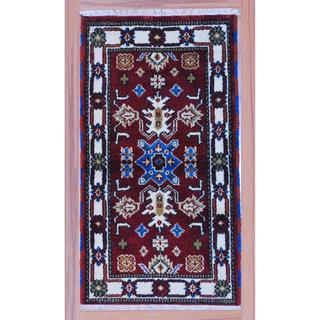 "Indo Hand-Knotted Kazak Burgundy/Ivory Wool Accent Rug (2'2"" x 4')"