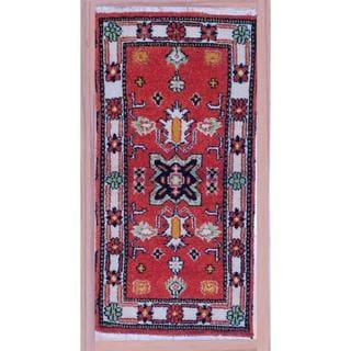 "Indo Hand-Knotted Kazak Orange/Ivory Wool Accent Rug (2'2"" x 4')"