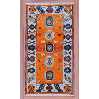 "Indo Hand-Knotted Kazak Orange/Ivory Pure Wool Rug (2'2"" x 4')"