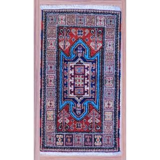 Casual Hand-Knotted Indo Kazak Red/Ivory Wool Rug (2'2 x 4')