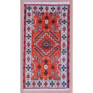 "Indo Artisan Hand-Knotted Kazak Orange/Ivory Wool Rug (2'2"" x 4')"