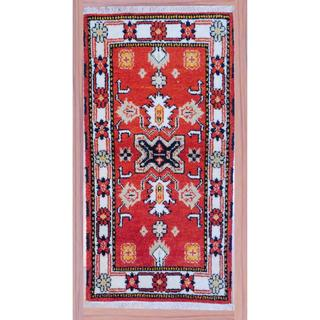 Traditional Hand-Knotted Indo Kazak Red/Ivory Wool Accent Rug (2'2 x 4')