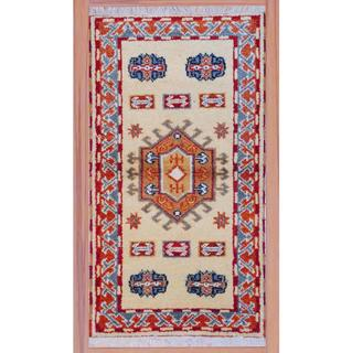 Indo Hand-knotted Kazak Beige/ Red Wool Rug (2'2 x 4')
