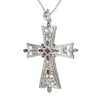Dallas Prince Rhodolite and London Blue Topaz Cross Necklace