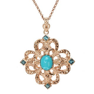 Dallas Prince Turquoise, London Blue Topaz and Marcasite Necklace