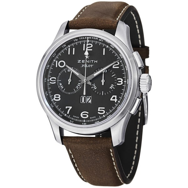 Zenith Men's 'Pilot' Black Dial Brown Leather Strap Chronograph Watch