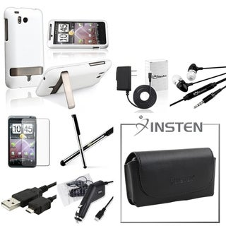 BasAcc Black Leather Pouch/ Rubberized Case/ Screen Protector/ Chargers/ Cable/ Stylus/ Headset for HTC ThunderBolt 4G