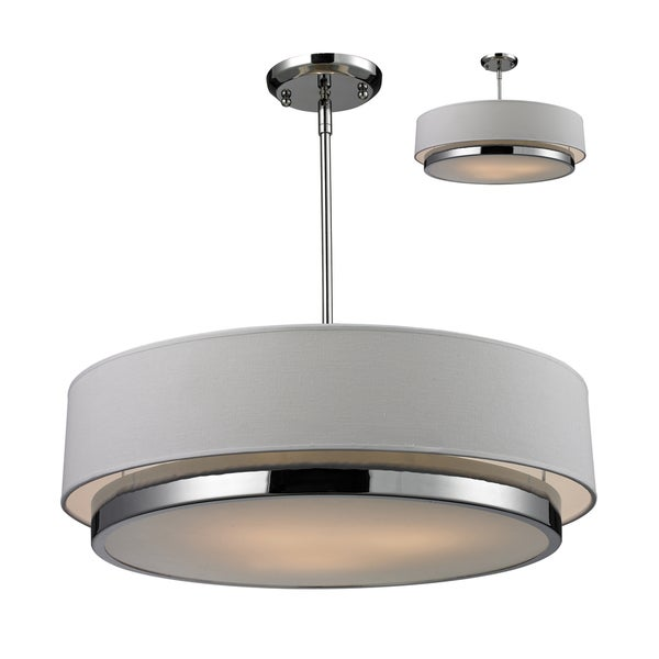 Jade 3-light Polished Chrome Pendant with White Fabric Shade