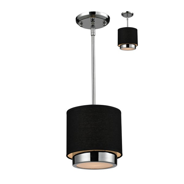 Jade 1-light Polished Chrome Black Shade Pendant