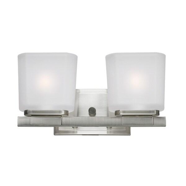 Vanity Lights Overstock : Agra 2-light Brushed Nickel Vanity Light