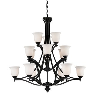 Lagoon Matte Black 15-light Chandelier