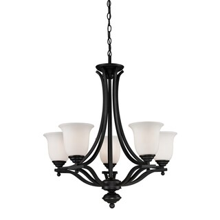 Lagoon Matte Black 5-light Chandelier