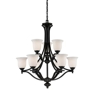 Lagoon Matte Black 9-light Chandelier
