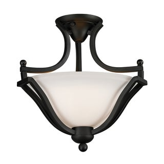 Lagoon Matte Black 2-light Semi-Flush Mount