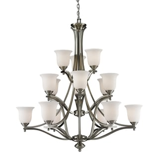 Lagoon Brushed Nickel 15-light Chandelier