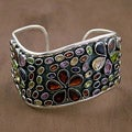 Sterling Silver 'Jaipuri Sash' Multi-gemstone Bracelet (India)