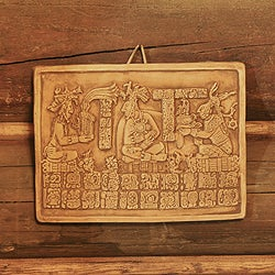 Handcrafted Ceramic 'Maya Coronation in Ochre' Wall Plaque (Mexico)