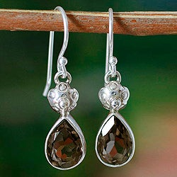 Sterling Silver 'Floral Dew' Smoky Quartz Earrings (India)
