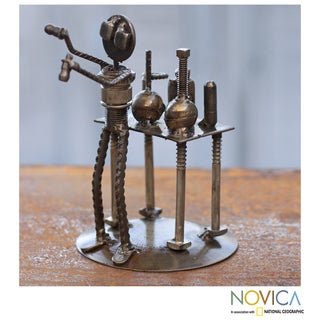 Handcrafted Recycled Metal 'Rustic Scientist' Sculpture (Mexico)