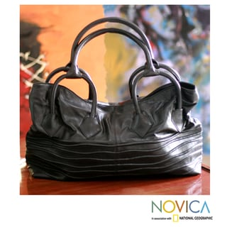 Leather &#39;Black Sea&#39; Large Hobo Handbag (India)