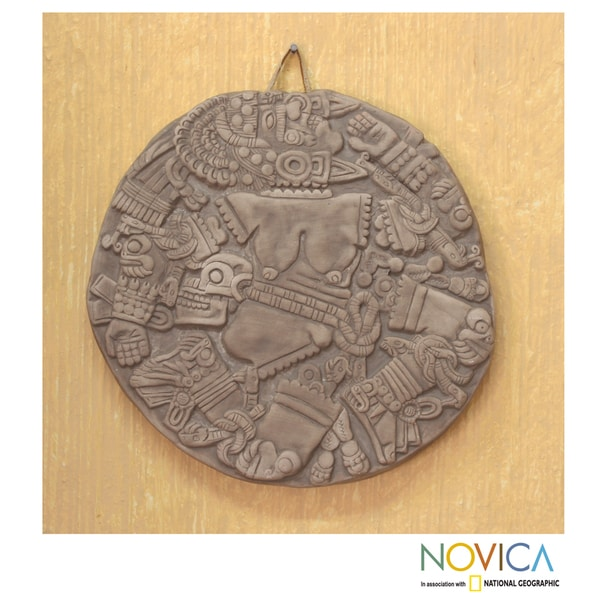 Handmade Ceramic 'Aztec Moon Goddess' Wall Plaque (Mexico) 11064074