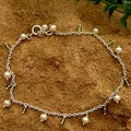 Sterling Silver 'Forest Dew' Peridot and Pearl Anklet (5 mm) (India)