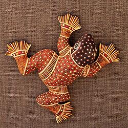 Handcrafted Ceramic 'Batik Frog' Wall Adornment (Mexico)
